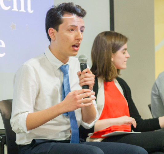 A student accuses SG presidential candidate Bryan Paz of unwanted sexual advances at SG Debate Town Hall